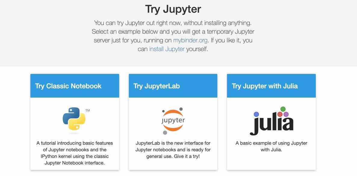 Showing Homepage of Jupyter